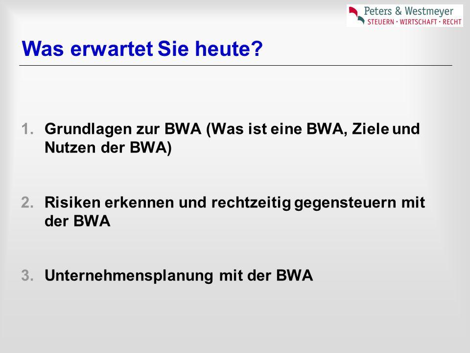 Was erwartet Sie heute Grundlagen zur BWA (Was ist eine BWA, Ziele und Nutzen der BWA) Risiken erkennen und rechtzeitig gegensteuern mit der BWA.