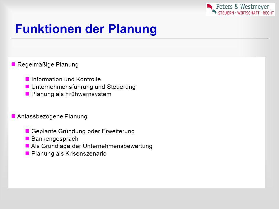 Funktionen der Planung