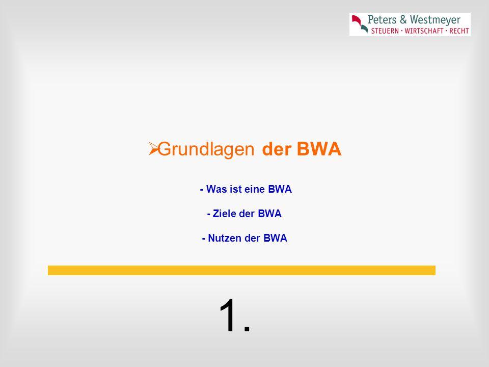 Grundlagen der BWA - Was ist eine BWA - Ziele der BWA - Nutzen der BWA
