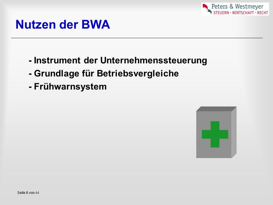  Nutzen der BWA - Instrument der Unternehmenssteuerung