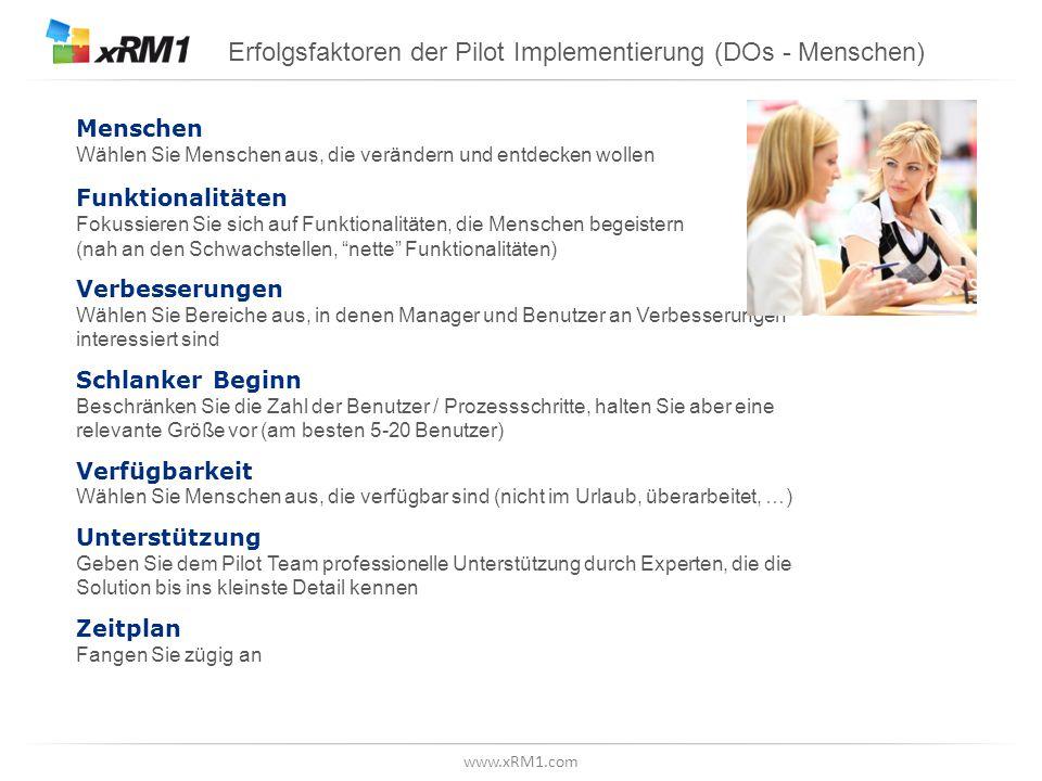 Erfolgsfaktoren der Pilot Implementierung (DOs - Funktional)