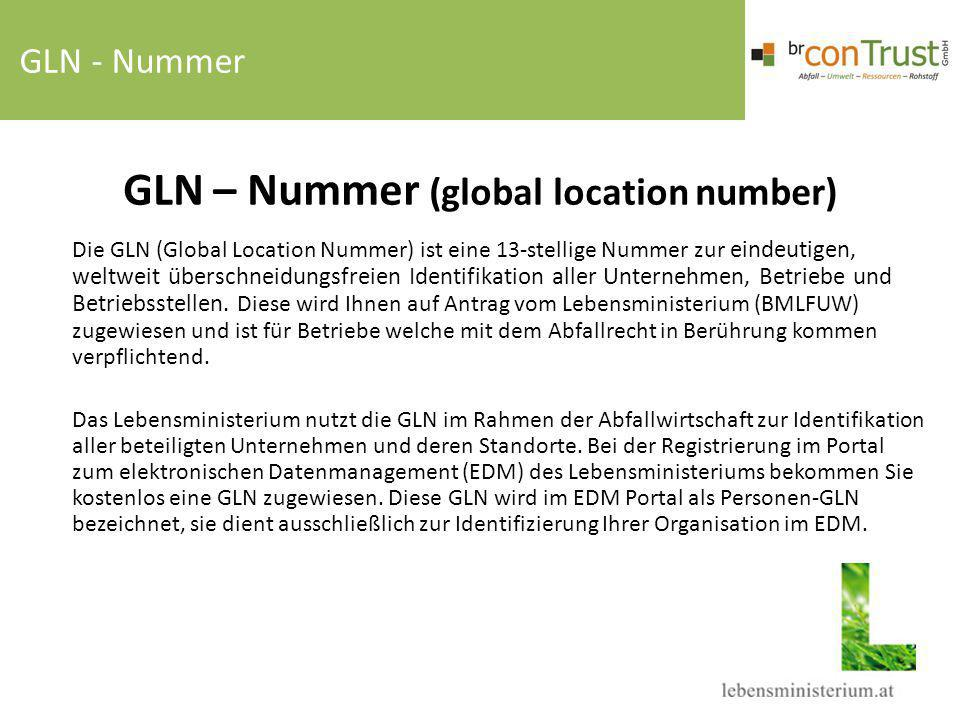 GLN – Nummer (global location number)