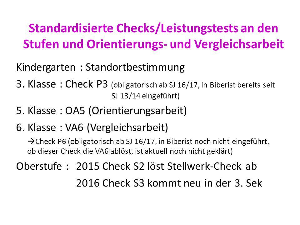 Standardisierte Checks/Leistungstests an den Stufen und Orientierungs- und Vergleichsarbeit