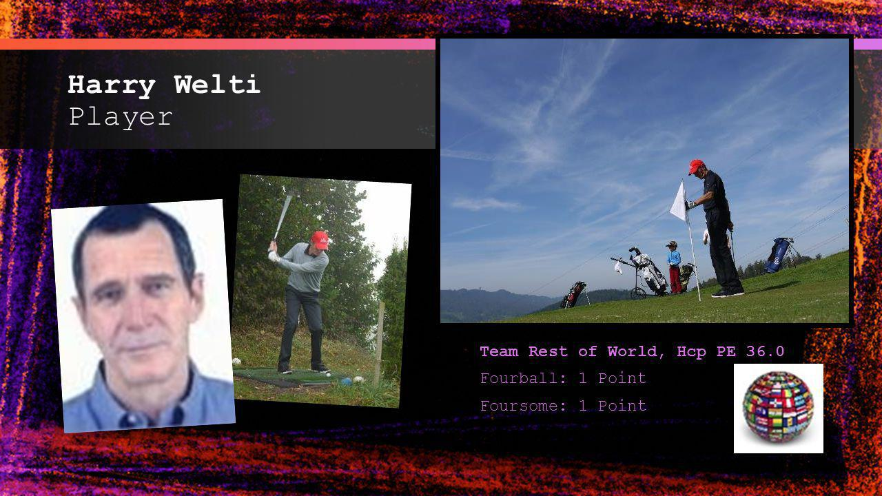 Harry Welti Player Team Rest of World, Hcp PE 36.0 Fourball: 1 Point