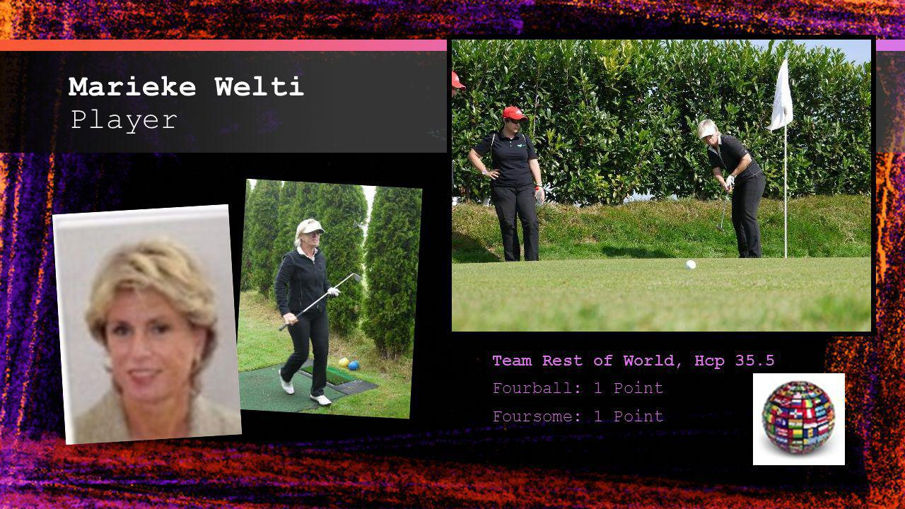 Marieke Welti Player Team Rest of World, Hcp 35.5 Fourball: 1 Point