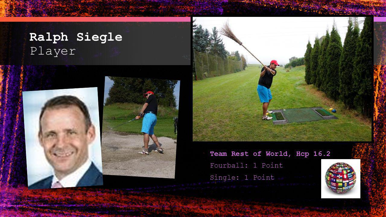 Ralph Siegle Player Team Rest of World, Hcp 16.2 Fourball: 1 Point