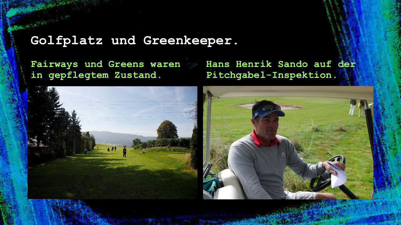 Golfplatz und Greenkeeper.