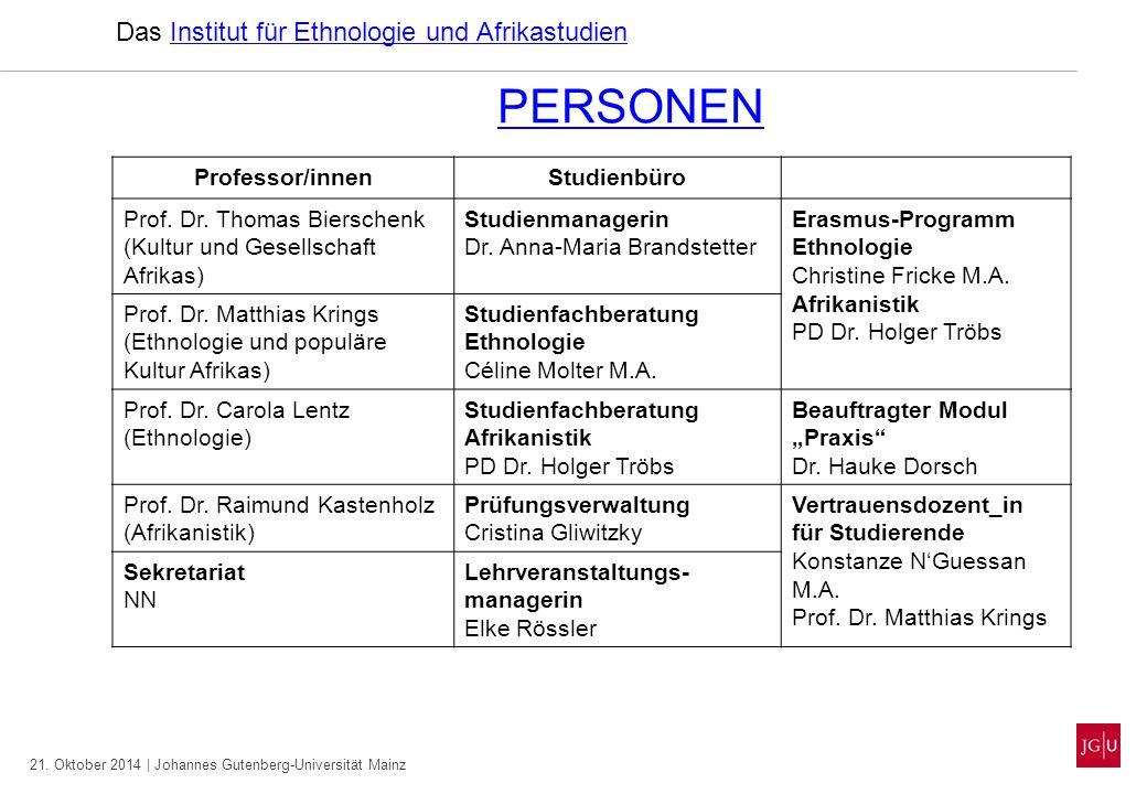 PERSONEN Das Institut für Ethnologie und Afrikastudien Professor/innen