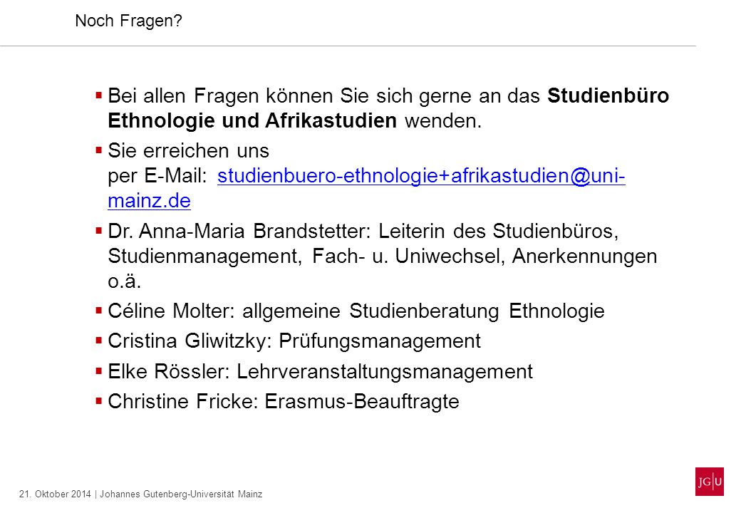 Céline Molter: allgemeine Studienberatung Ethnologie