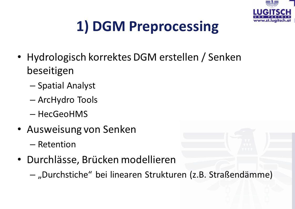 1) DGM Preprocessing Hydrologisch korrektes DGM erstellen / Senken beseitigen. Spatial Analyst. ArcHydro Tools.