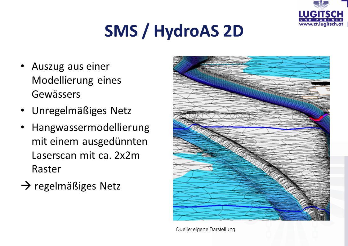 SMS / HydroAS 2D Auszug aus einer Modellierung eines Gewässers