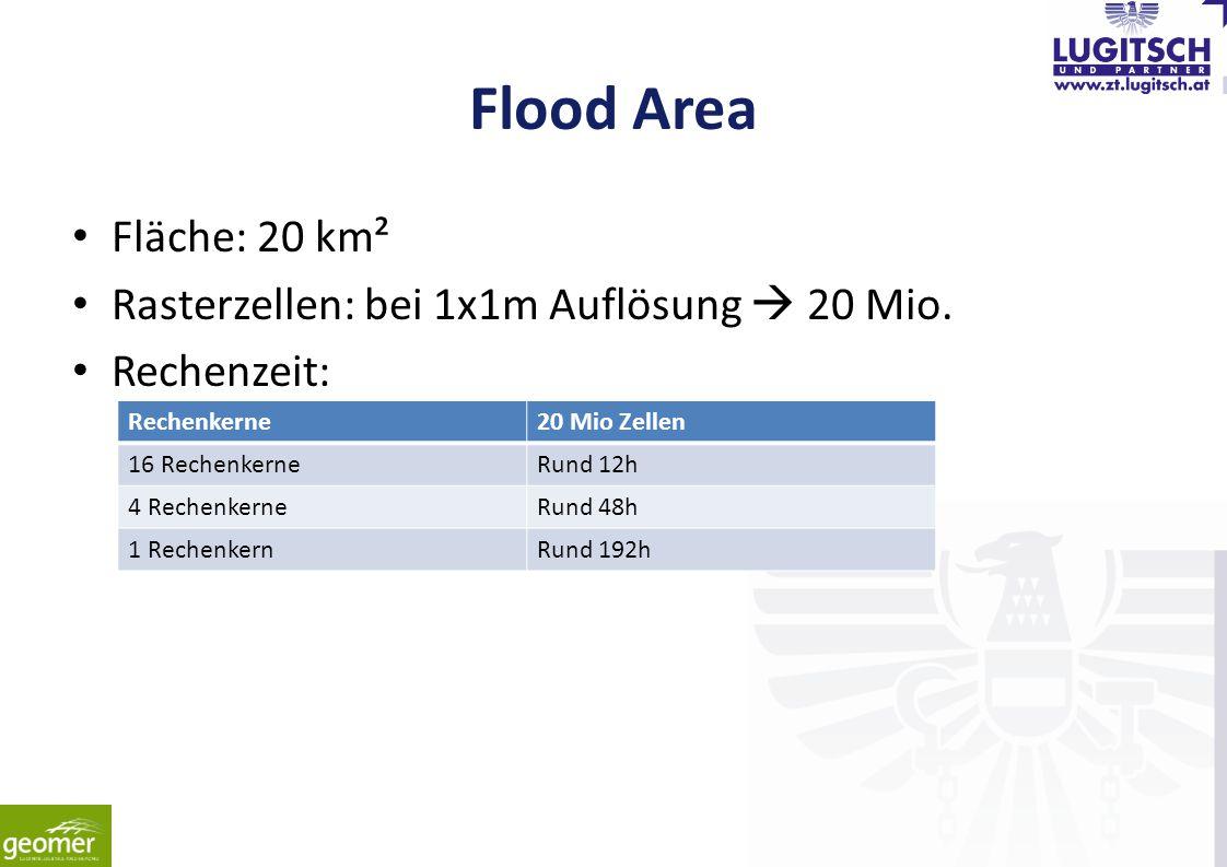 Flood Area Fläche: 20 km² Rasterzellen: bei 1x1m Auflösung  20 Mio.