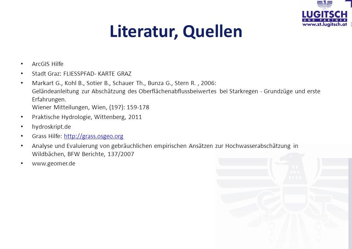 Literatur, Quellen ArcGIS Hilfe Stadt Graz: FLIESSPFAD- KARTE GRAZ