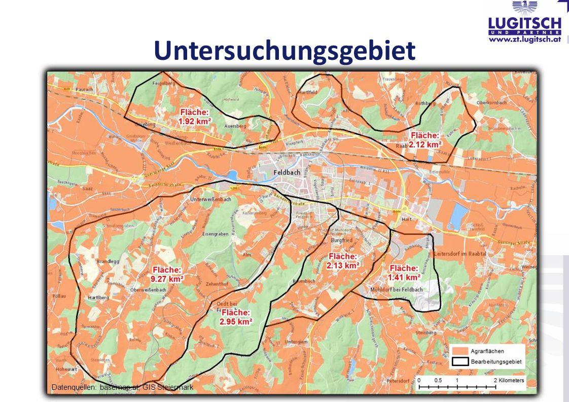 Untersuchungsgebiet Datenquellen: basemap.at, GIS Steiermark