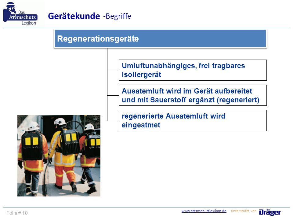 Gerätekunde -Begriffe Regenerationsgeräte