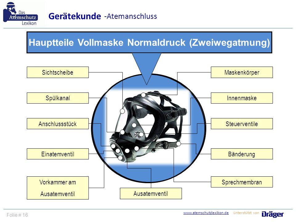 Hauptteile Vollmaske Normaldruck (Zweiwegatmung)