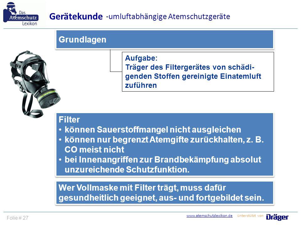 Gerätekunde -umluftabhängige Atemschutzgeräte Grundlagen Filter