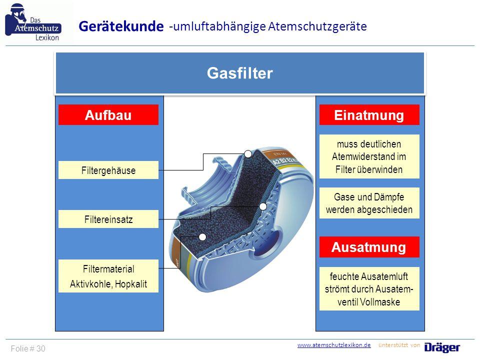 Gerätekunde Gasfilter -umluftabhängige Atemschutzgeräte Aufbau