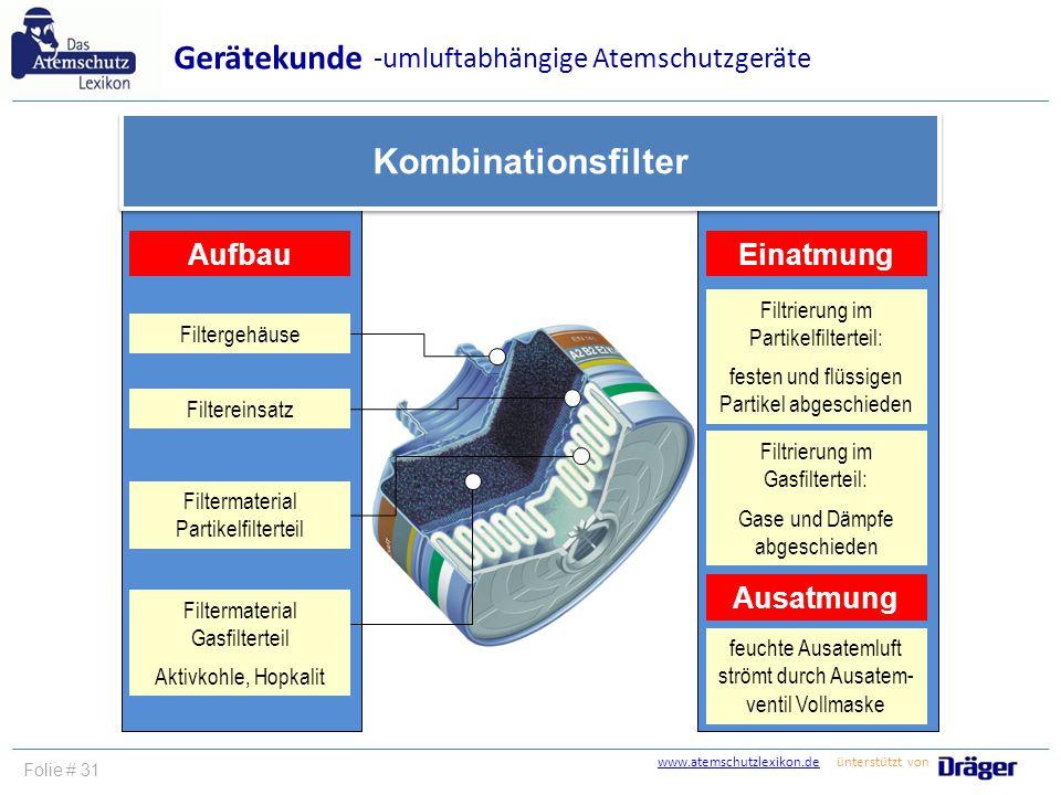 Gerätekunde Kombinationsfilter -umluftabhängige Atemschutzgeräte
