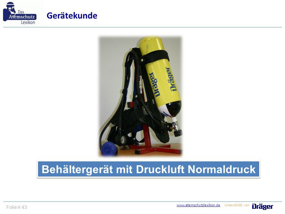 Behältergerät mit Druckluft Normaldruck