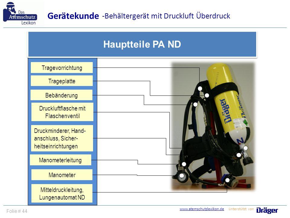 Gerätekunde Hauptteile PA ND -Behältergerät mit Druckluft Überdruck