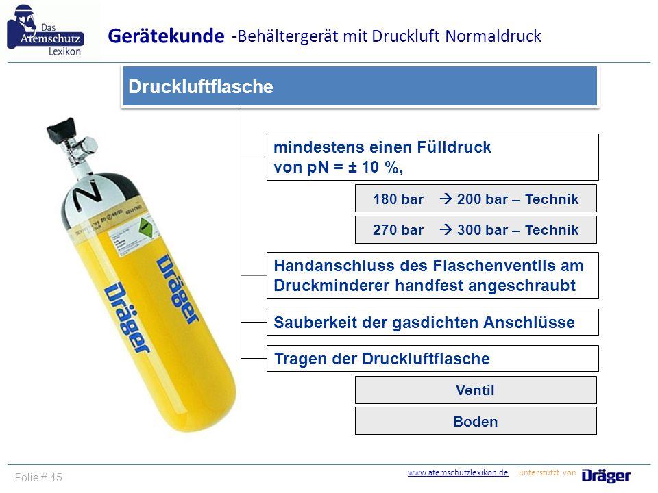 Gerätekunde -Behältergerät mit Druckluft Normaldruck Druckluftflasche