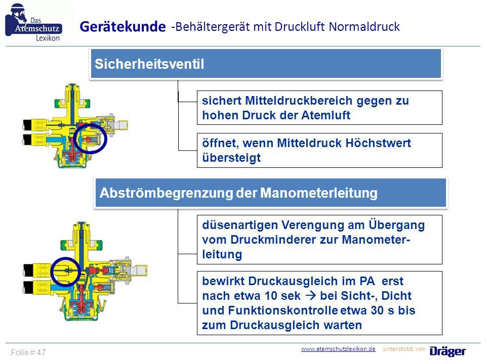 Gerätekunde -Behältergerät mit Druckluft Normaldruck Sicherheitsventil