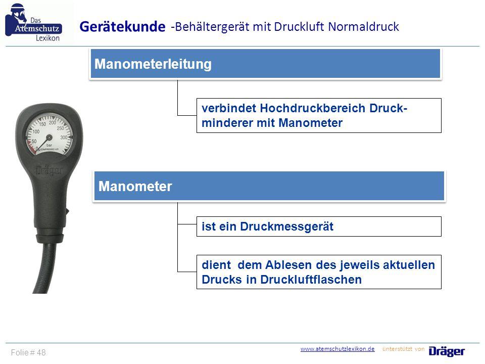 Gerätekunde -Behältergerät mit Druckluft Normaldruck Manometerleitung