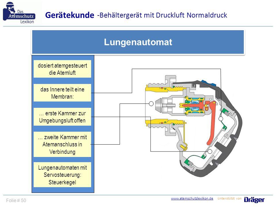 Gerätekunde Lungenautomat -Behältergerät mit Druckluft Normaldruck