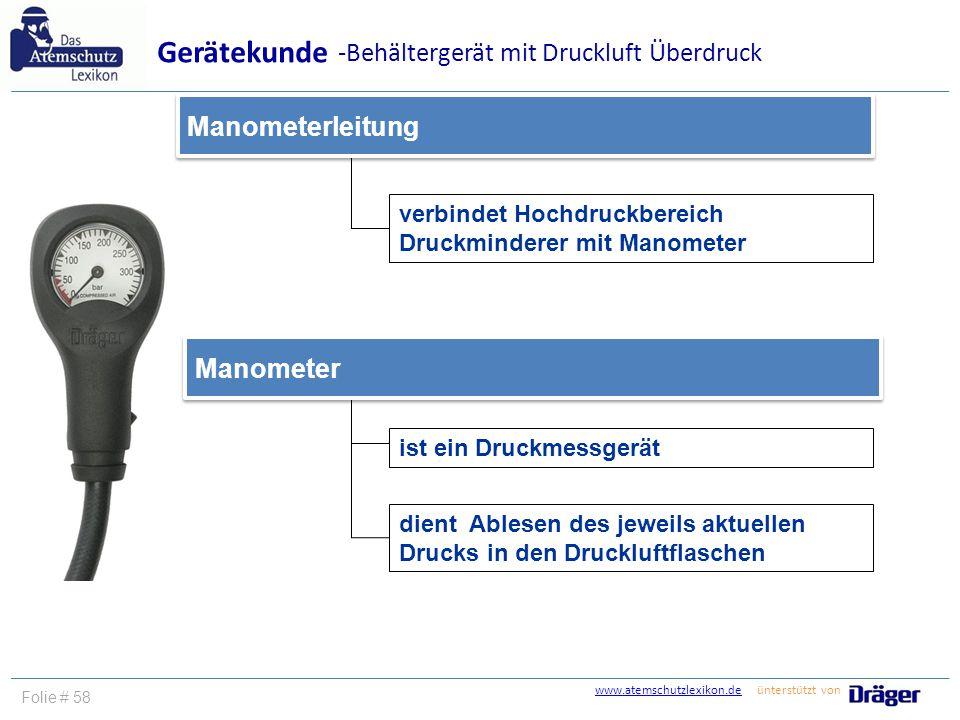 Gerätekunde -Behältergerät mit Druckluft Überdruck Manometerleitung