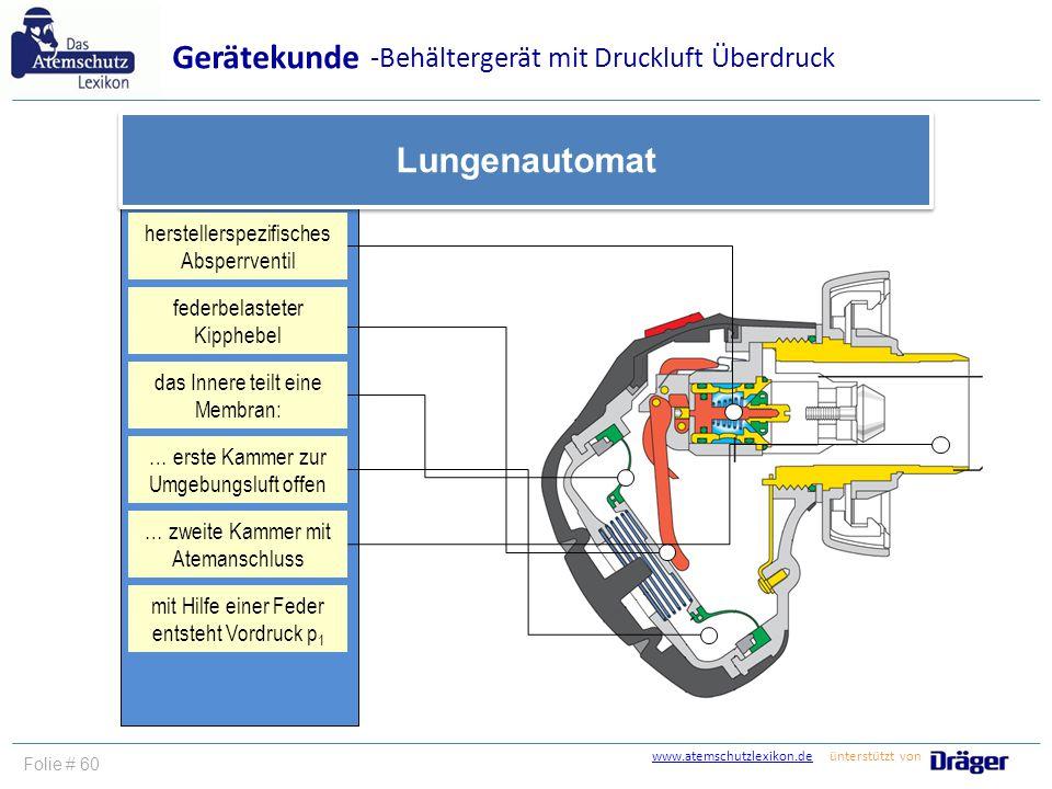 Gerätekunde Lungenautomat -Behältergerät mit Druckluft Überdruck