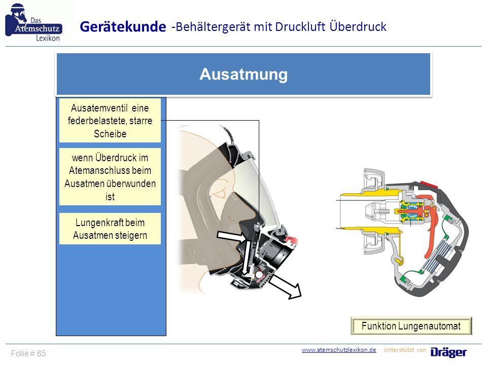 Gerätekunde Ausatmung -Behältergerät mit Druckluft Überdruck