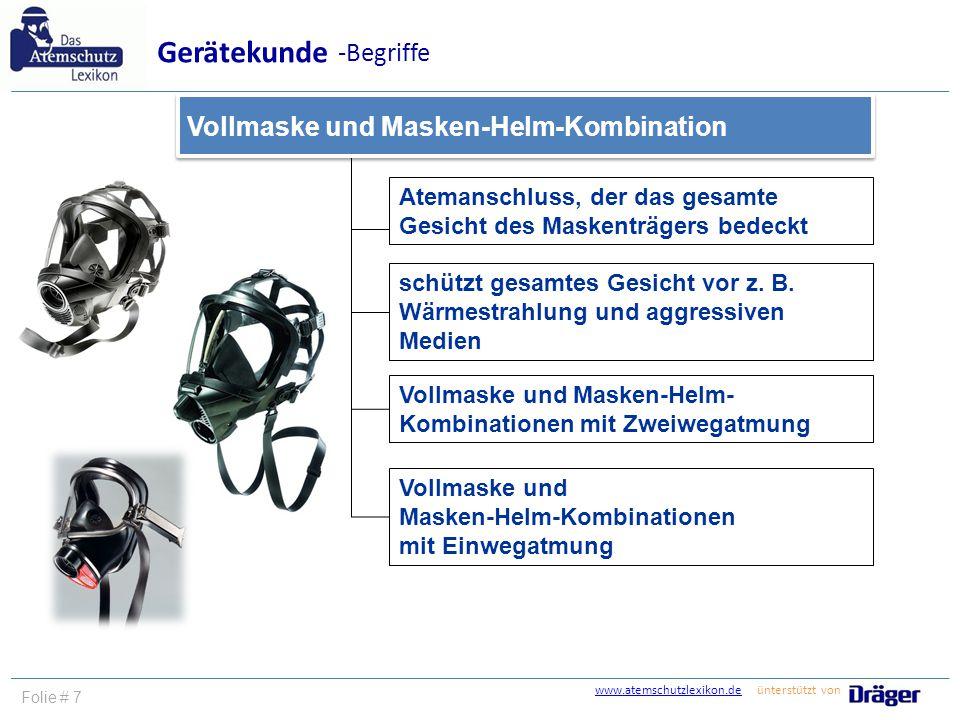 Gerätekunde -Begriffe Vollmaske und Masken-Helm-Kombination