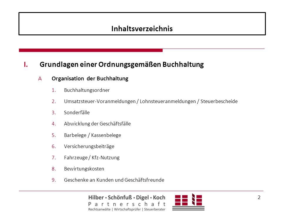Inhaltsverzeichnis Grundlagen einer Ordnungsgemäßen Buchhaltung