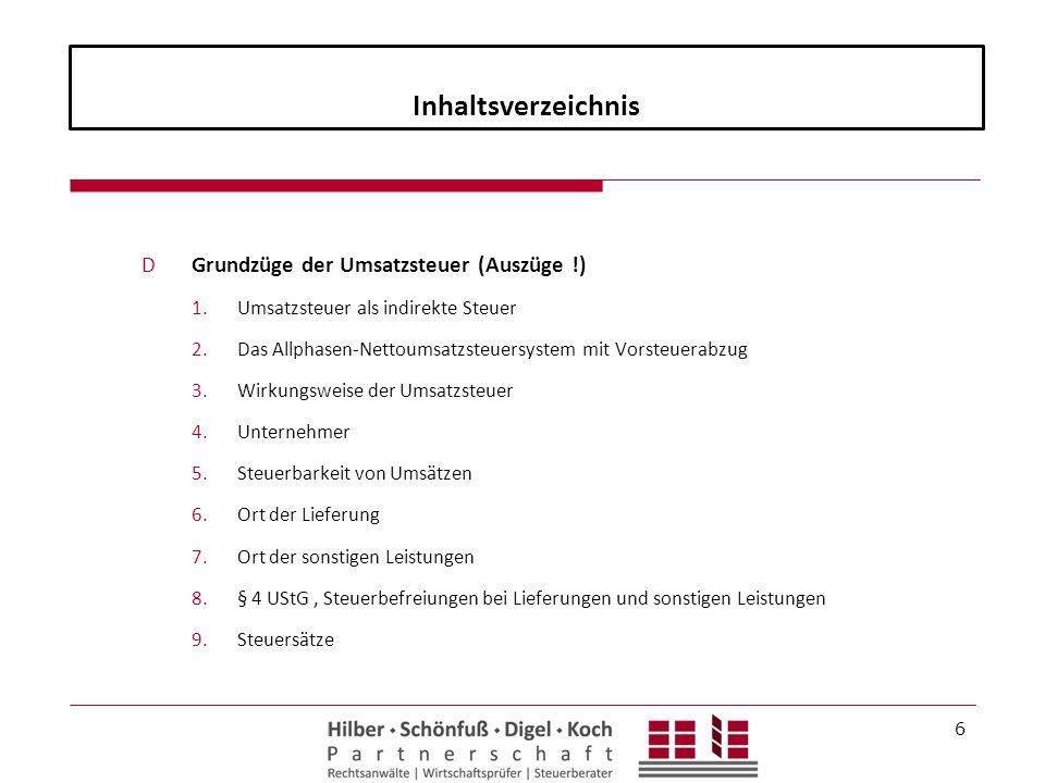 Inhaltsverzeichnis Grundzüge der Umsatzsteuer (Auszüge !)