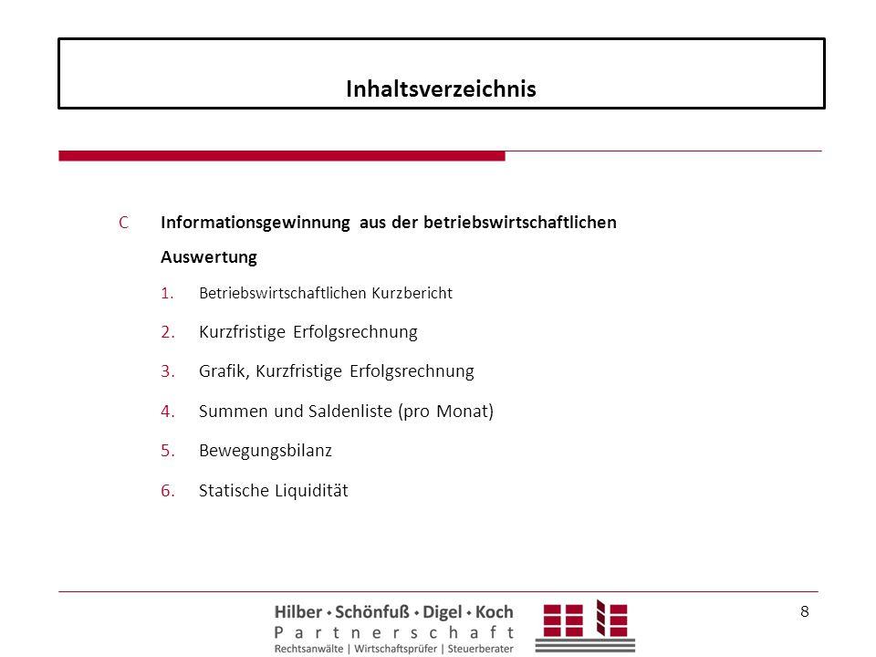 Inhaltsverzeichnis Informationsgewinnung aus der betriebswirtschaftlichen Auswertung.