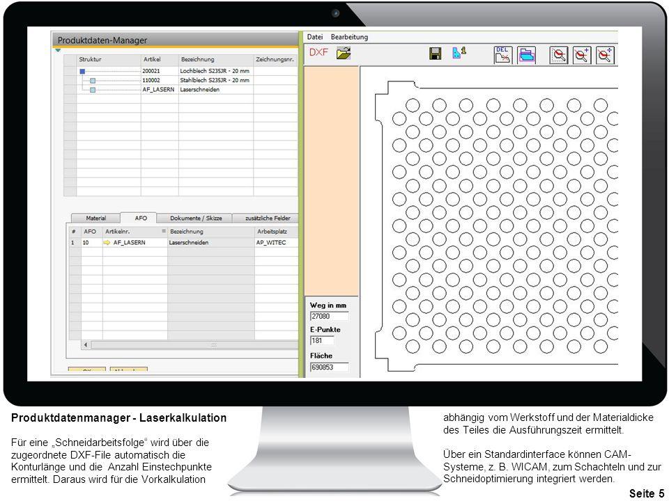 Produktdatenmanager - Laserkalkulation