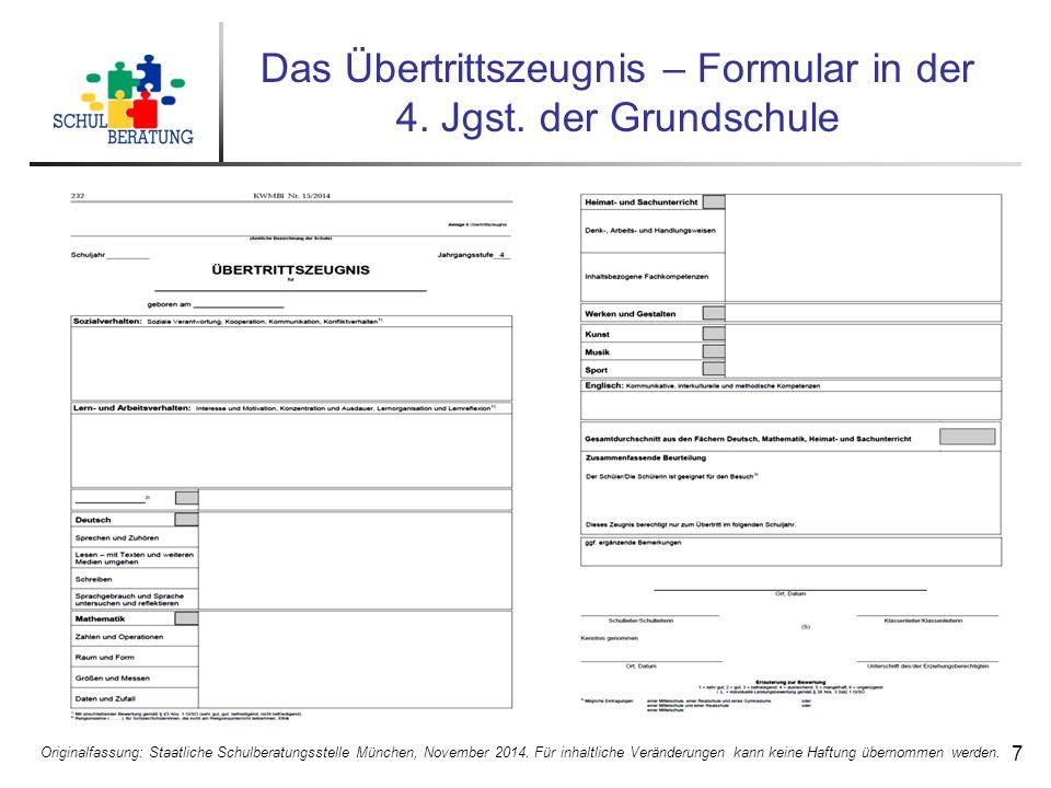 Das Übertrittszeugnis – Formular in der 4. Jgst. der Grundschule