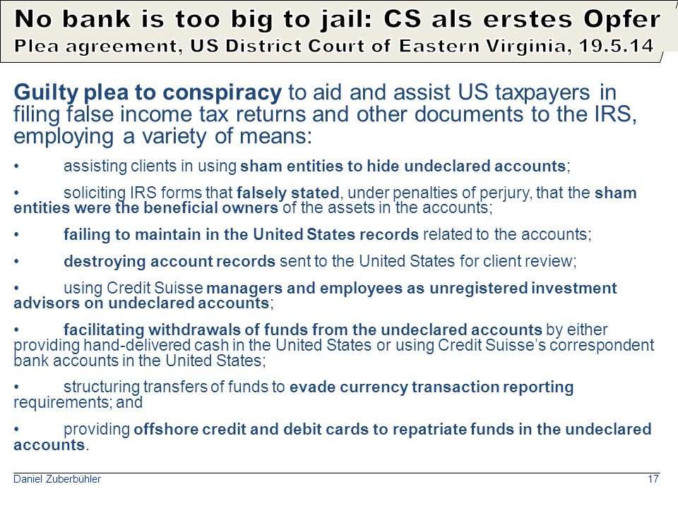 Credit Suisse bezahlt 2.8 Mia. USD an USA