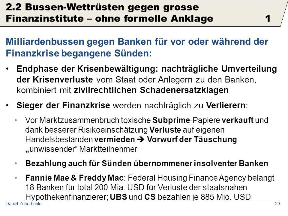 2.2 Bussen-Wettrüsten gegen grosse Finanzinstitute für Compliance-Verstösse 2