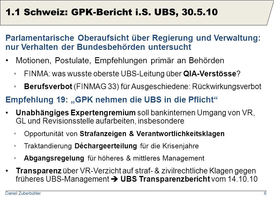 Expertenbericht Tobias Straumann: Die UBS-Krise aus wirtschaftshistorischer Sicht