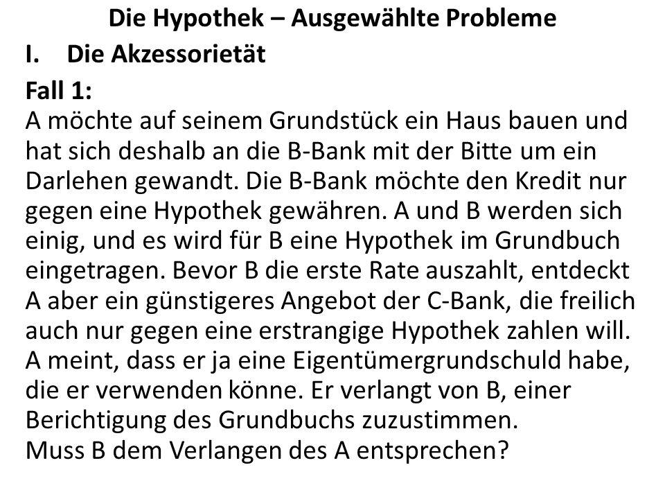Die Hypothek – Ausgewählte Probleme