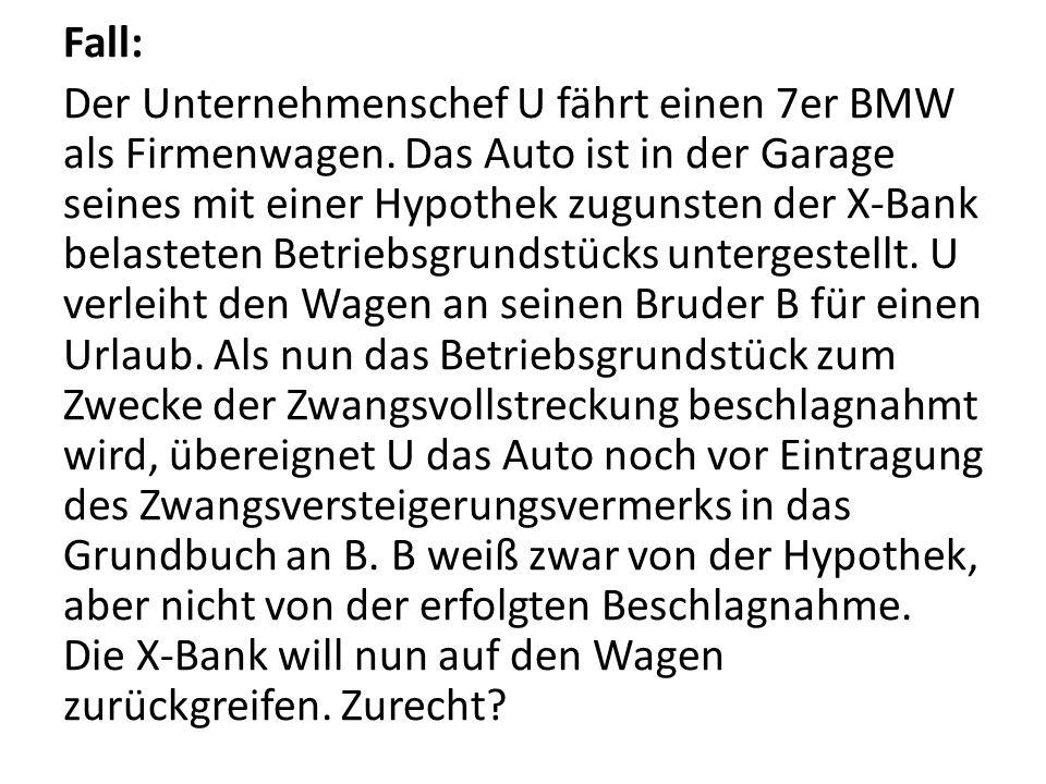 Fall: Der Unternehmenschef U fährt einen 7er BMW als Firmenwagen
