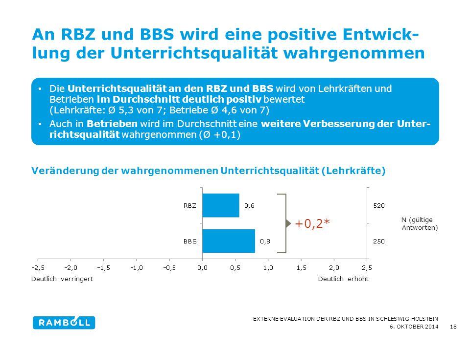 An RBZ und BBS wird eine positive Entwick-lung der Unterrichtsqualität wahrgenommen
