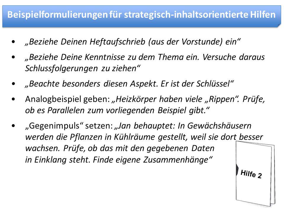 Beispielformulierungen für strategisch-inhaltsorientierte Hilfen