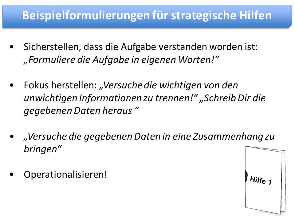 Beispielformulierungen für strategische Hilfen