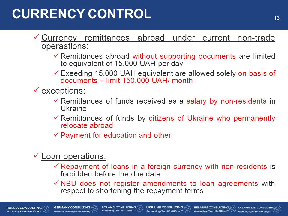 CURRENCY CONTROL Currency remittances abroad under current non-trade operastions: