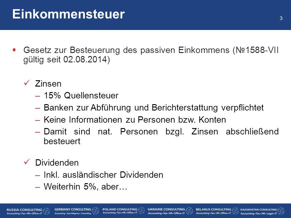 Einkommensteuer Gesetz zur Besteuerung des passiven Einkommens (№1588-VII gültig seit 02.08.2014) Zinsen.