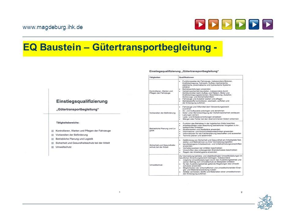 EQ Baustein – Gütertransportbegleitung -