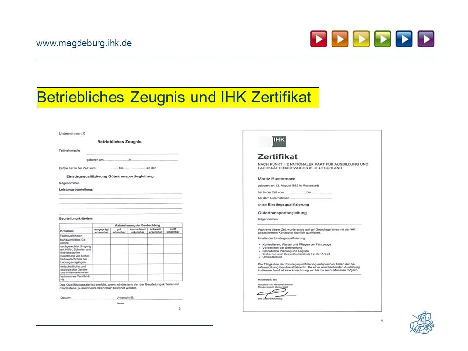 Betriebliches Zeugnis und IHK Zertifikat